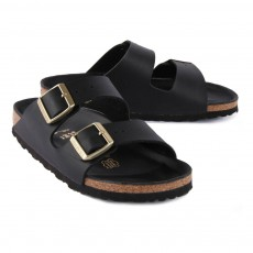 Birkenstock Gold Buckled Leather Arizona Sandals-listing