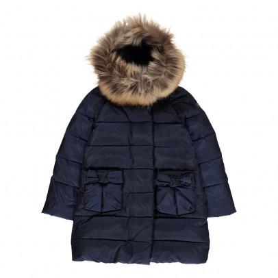 Il Gufo Bow Pocket Puffa Jacket with Fur Hood-listing