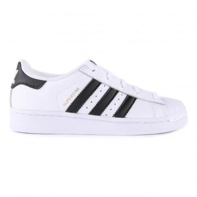 Adidas Scarpe da Ginnastica in Pelle con Lacci Superstar Nere-listing