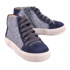 Pèpè Suede and Sequin Laceup Trainers with Zip-listing