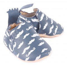 Easy Peasy Blumoo Moustache Leather Slippers-listing