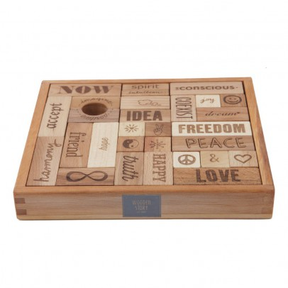 Wooden Story Peace and love 29 bloques de madera -listing
