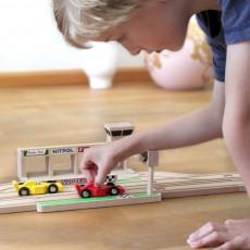 Ikonic Toys Circuito de carrera de madera y coches-listing
