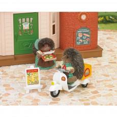Sylvanian Repartidor de pizza scooter y figurín-listing