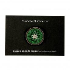 Macon & Lesquoy Broche Brodée en Coton Kiwi-listing
