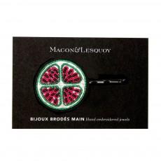 Macon & Lesquoy Barrette Brodée en Coton Fruit-listing