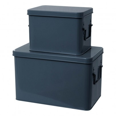 Present Time Boîtes de rangement métal - Set de 2-listing