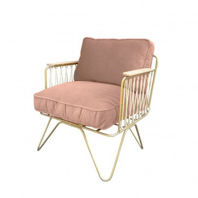 Honoré Croisette White and Powdered Pink Velvet Armchair-listing