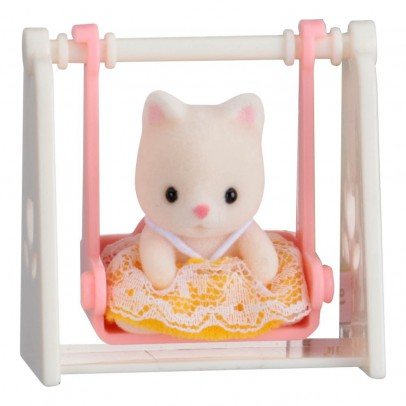 Sylvanian Baby Carry Case Cat on Swing-listing
