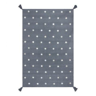 Art For Kids Grey Stars Cotton and Leather Rug-listing
