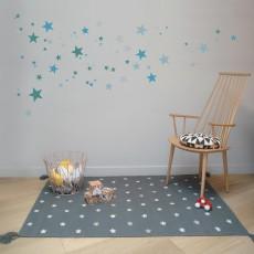 Art For Kids Tapis en coton et cuir stars grey-listing