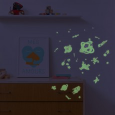 Omy Planche de stickers phosphorescent Cosmos  - 100 stickers-listing