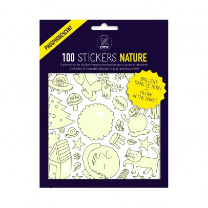 Omy Planche de stickers phosphorescent Nature  - 100 stickers-listing