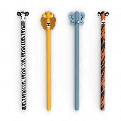 Kikkerland Set de 4 crayons à papier safari-listing