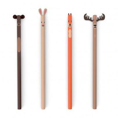 Kikkerland Set de 4 crayons à papier forêt-listing