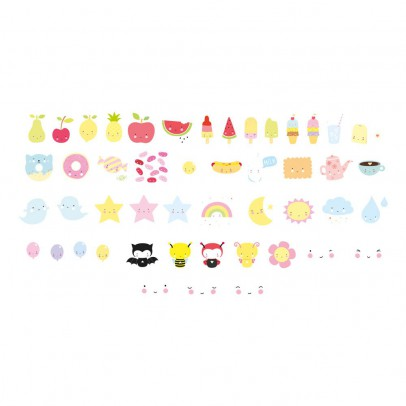 A little lovely company Set de 48 illustrations kawaï pour lightbox-listing