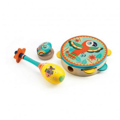 Djeco Set di 3 strumenti tamburello, maracas, nacchere-listing
