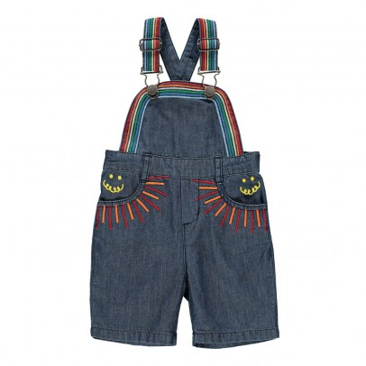 Stella McCartney Kids Sunbeam Embroidered Detail Dungaree Shorts-listing