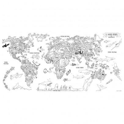 Chispum Papier peint Monde animalier à colorier-listing