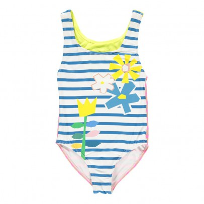 Stella McCartney Kids Molly Floral Striped 1 Piece Swimsuit-listing