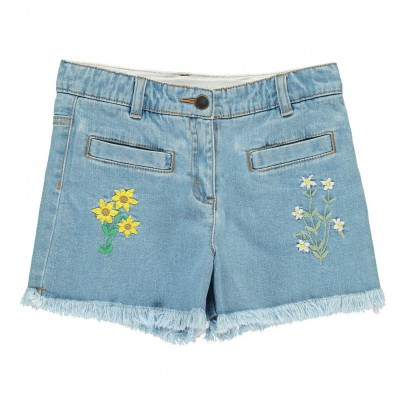 Stella McCartney Kids Marlin Embroidered Flower Shorts-listing