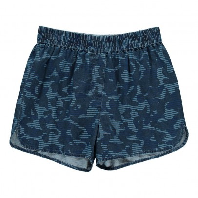 Stella McCartney Kids Coralle Camouflage Chambray Shorts-listing