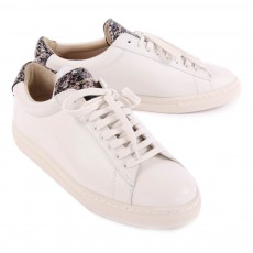Zespà Grey Leather ZSP4 APLA Trainers with Snakeskin Detailing-listing