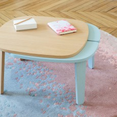 Hartô Pink and Blue Layered Wool Aube Rug-listing