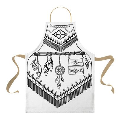Marielle Bazard Disfraz para colorear con 6 rotuladores delantal La India Blanco-listing