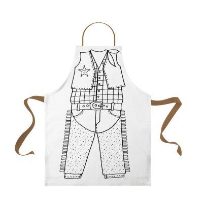 Marielle Bazard Disfraz para colorear con 6 rotuladores delantal el sherif Blanco-listing
