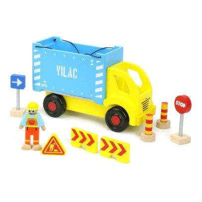 Vilac Lastwagen mit Container und Baustellenzubehör Bunt-product