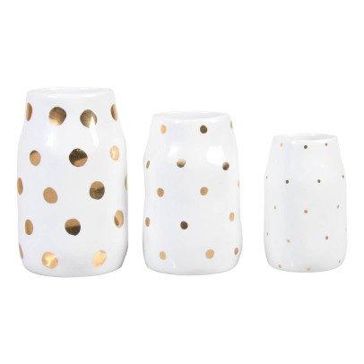 Klevering Vases en porcelaine pois dorés - Set de 3  Blanc-listing