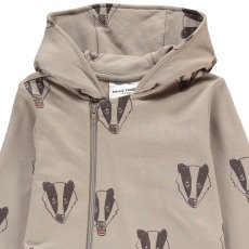 Mini Rodini Organic Cotton Hooded Badger Romper-listing