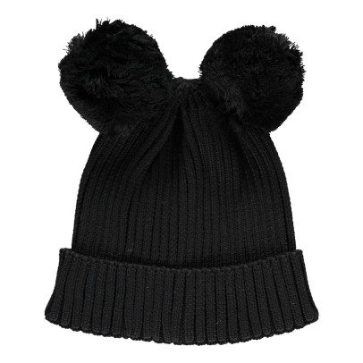 Mini Rodini Organic Cotton Beanie with Pompom Ears-product