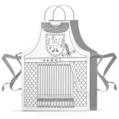 Marielle Bazard Disfraz para colorear con 6 rotuladores delantal el caballero Blanco-listing