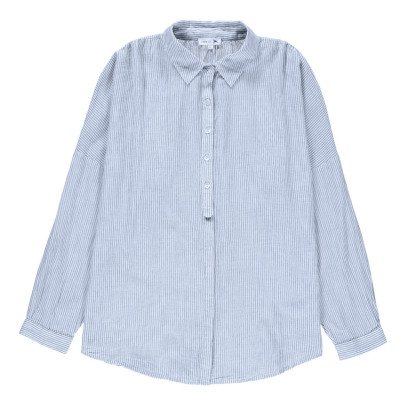 Soeur Striped Suede Oversized Shirt-listing