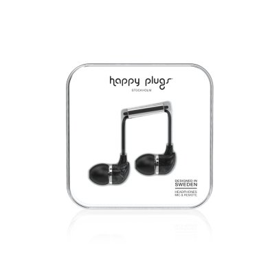 Happy Plugs Black Marble In-Ear Earphones -listing