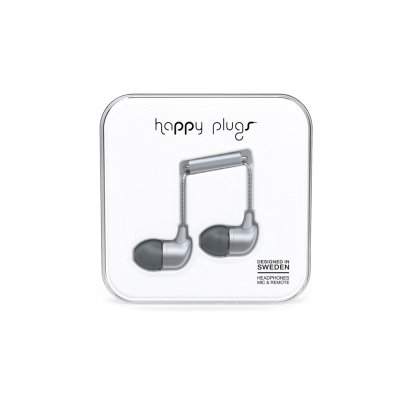 Happy Plugs Silver In-Ear Earphones -listing