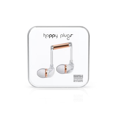 Happy Plugs White Marble In-Ear Earphones -product