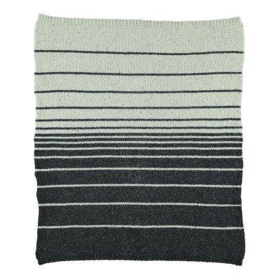 Kidscase Plaid en laine rayé noir et écru-listing