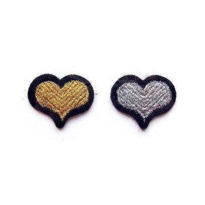 Macon & Lesquoy 2 Bügelabzeichen gestickt Herz  Gold-listing