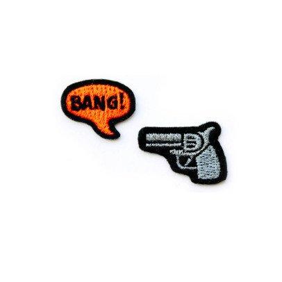 Macon & Lesquoy 2 Bügelabzeichen gestickt Burger Revolver und Bang  Grau-listing