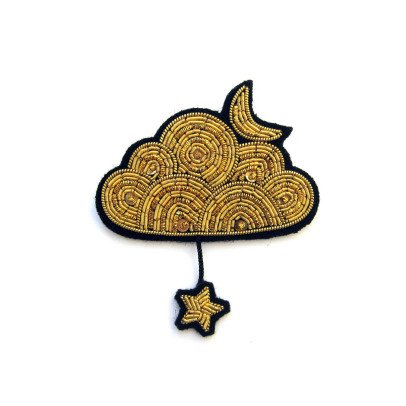Macon & Lesquoy Hand Embroidered Large Gold Cloud and Star Brooch-listing