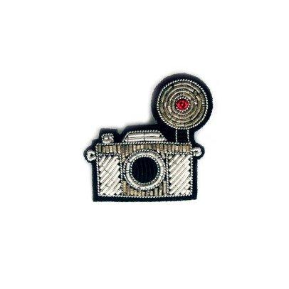 Macon & Lesquoy Brosche Fotoapparat Vintage gestickt  Silber-listing