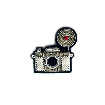 Macon & Lesquoy Hand Embroidered Vintage Camera Brooch Silvery-listing