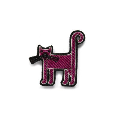 Macon & Lesquoy Hand Embroidered Cat Brooch Fuchsia-listing