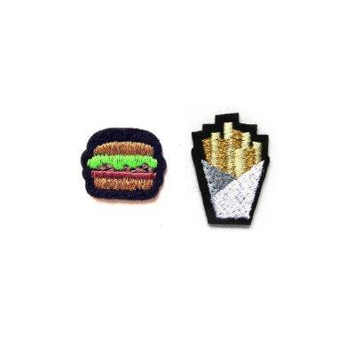 Macon & Lesquoy 2 Bügelabzeichen gestickt Burger und Pommes Frites  Orange-listing