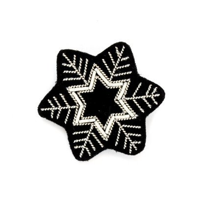 Macon & Lesquoy Hand Embroidered Star Snow Flake Brooch Silvery-listing
