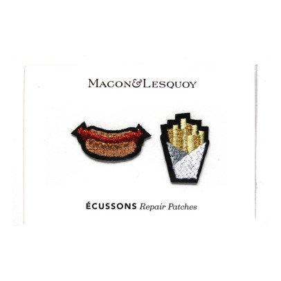 Macon & Lesquoy Assortiment de 2 Ecussons Frites et Hotdog Orange-listing