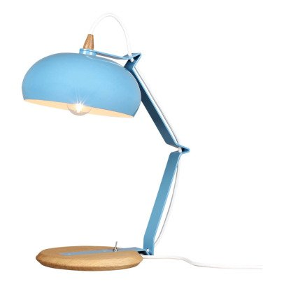 Lampari Rhoda Metal Blue and Oak Table Lamp-listing